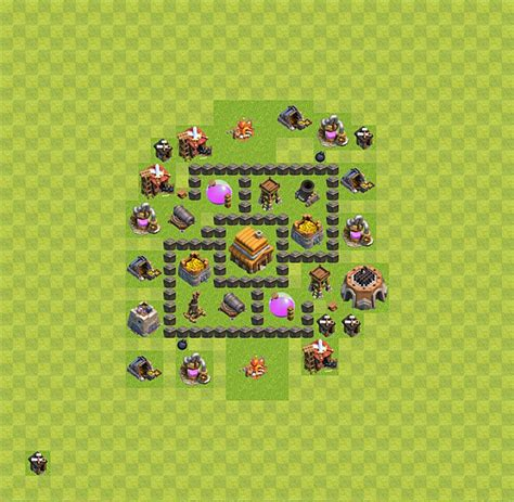 layout coc town hall level 4 clash of clans base plan layout for trophies town hall