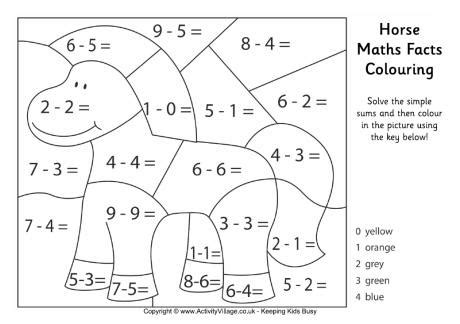 math animal coloring pages horse maths facts colouring page