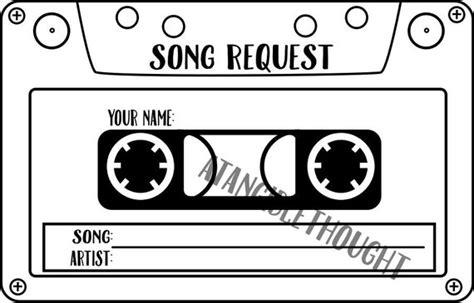 Sheet Of 12 Karaoke Dj Song Request Cards Tape Cassette Dj Song Request Template
