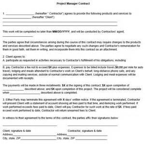 project manager contract template project manager contract template