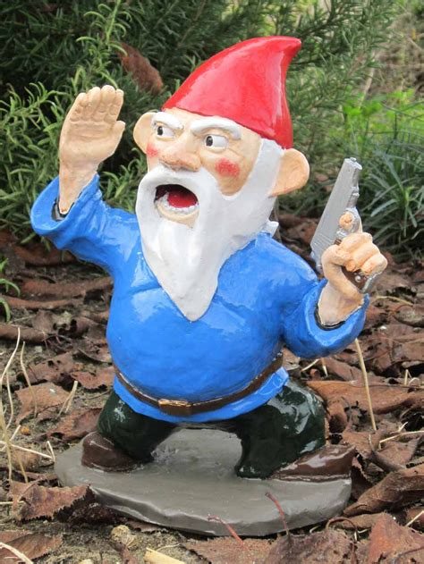 garden nome combat garden gnome officer with pistol