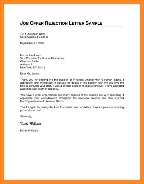 Decline College Letter rejection letter for a application