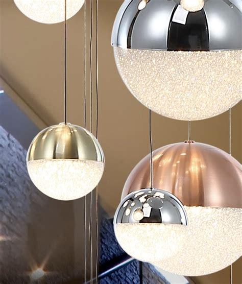 led long drop glitter ball pendant chrome nickel