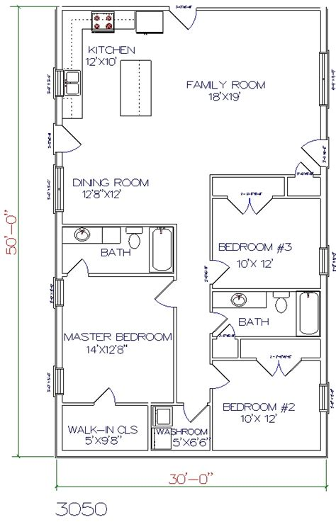 30x50 House Floor Plans Square House Floor Plans With Lean To Kitchen Home