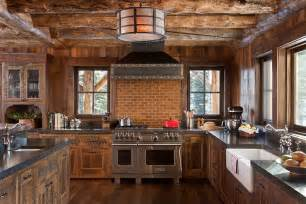 Rustic Kitchens Designs rustic kitchen in wood and stone with a smart brick backsplash