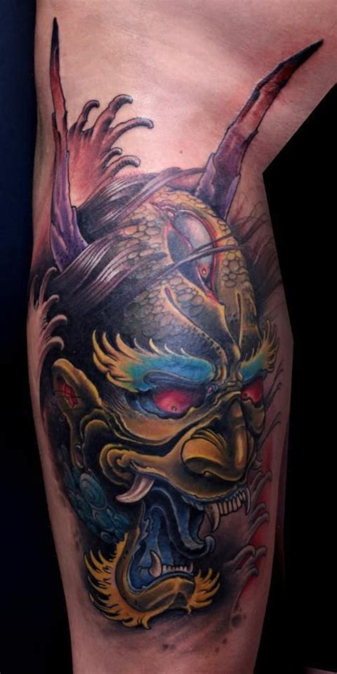 japanese devil mask tattoo designs japanese oni mask live in color artist eddie tats