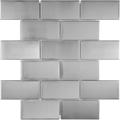 stainless steel backsplash lowes shop stainless steel brick mosaic metal wall tile common