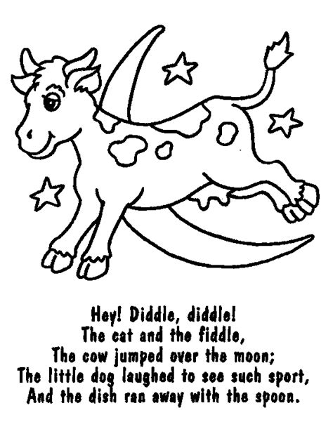 preschool coloring pages nursery rhymes the cow jumping over the moon colouring page nursery