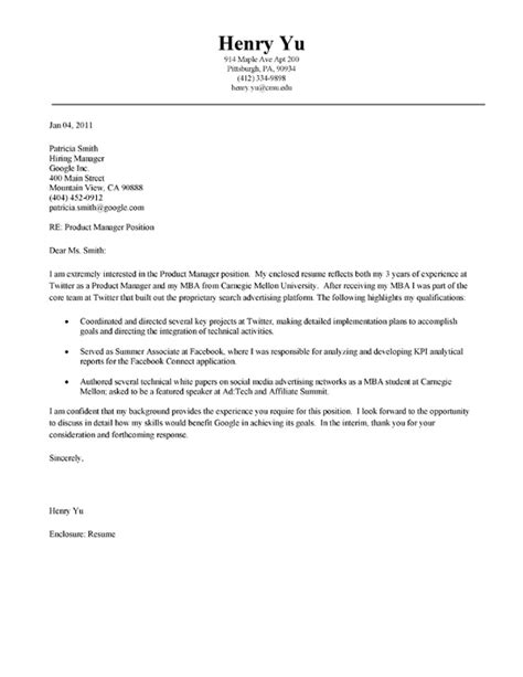 cover letter for mba admission mba cover letter exle cover letter exle and letter