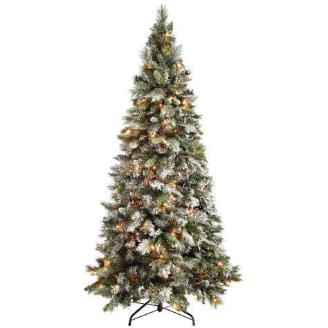 christmas tree lights amazon werchristmas pre lit slim snow flocked spruce multi