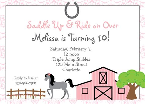printable birthday invitations horse theme free printable horse riding party invitations birthday