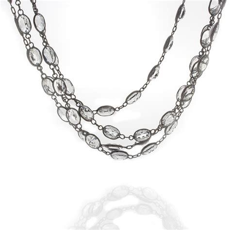 oval white topaz necklace saxon s signature collection