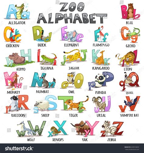 stickers alphabet animals from u to z stock vector alphabet pictures for 13984