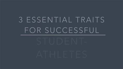 three essential traits of successful student athletes
