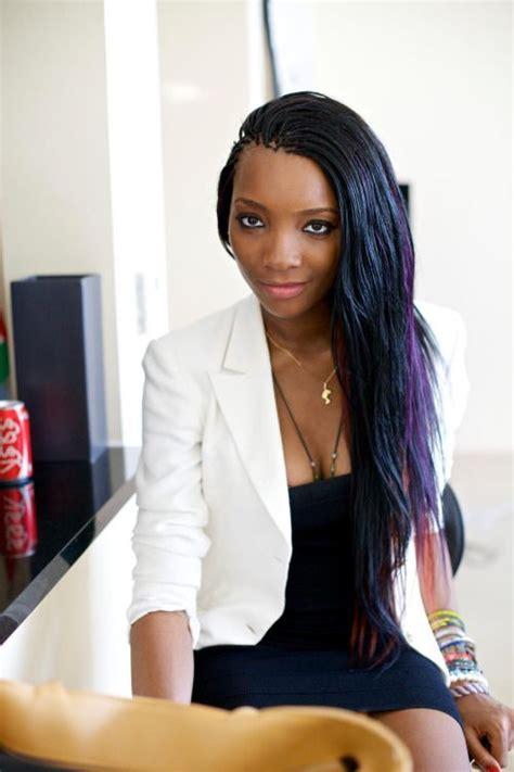 black women pick n drop hair sytyle black blue purple pick and drop braids hair style