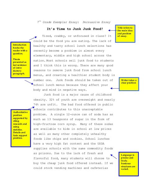 Effects Of Junk Food Essay by 7th Persuasive Essay Junk Food