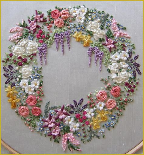 spring garland of silk flowers pattern print silk lorna bateman embroidery designer