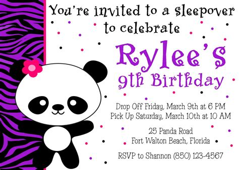 Panda Birthday Card Template by Panda Birthday 5x7 Invitation Printable