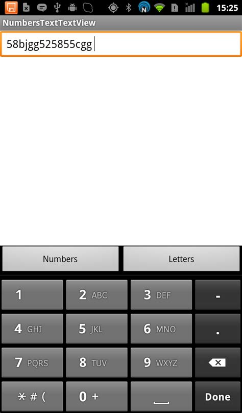 android edittext with number keypad by default but allowing alphabetic characters stack