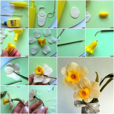 pin by lois hoch on diy pinterest how to make cold porcelain daffodils flower step by step