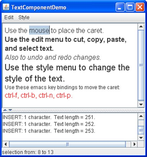 swing text text component features the java tutorials gt creating a