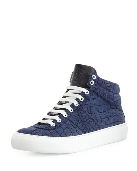 jimmy choo sneakers mens jimmy choo belgravia croc embossed sneakers in blue for