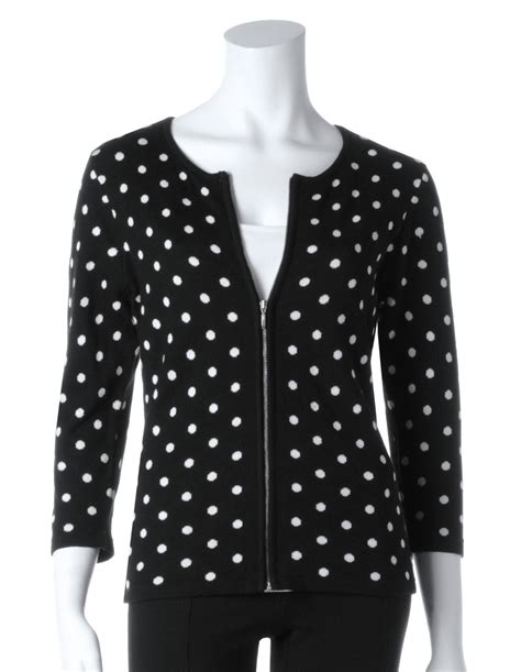 20110 Black White Cardigan polka dot zipper front cardigan cleo