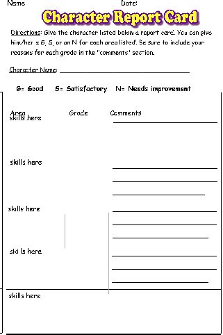 character trait report card template character book report 28 images character book report