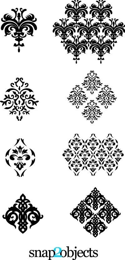 Four Vector Floral Ornaments Pack 02 | snap2objects