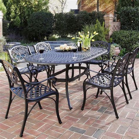 Metal Patio Dining Sets Home Styles Biscayne 6 Person Cast Aluminum Patio Dining Set Black Shopperschoice