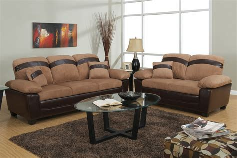 microfiber couch and loveseat poundex gabe f7573 saddle fabric sofa and loveseat set