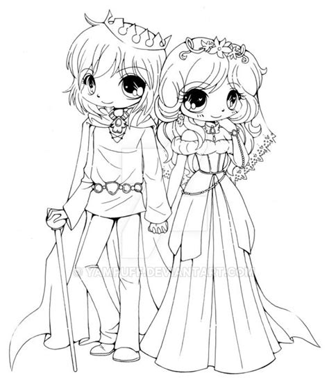Couple Commission Lineart By Yampuff Couples Anime Coloring Pages Deviantart Free