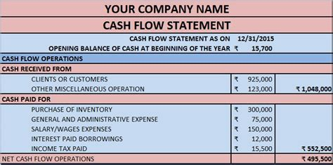 general format of cash flow statement download cash flow statement excel template exceldatapro