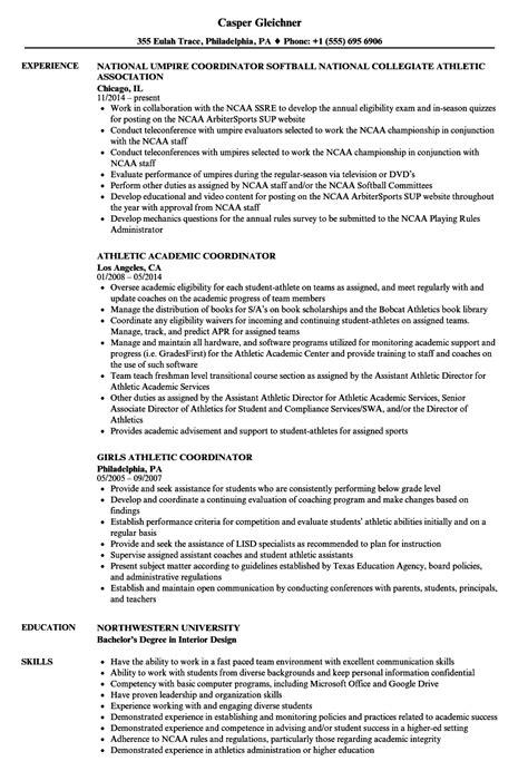 Athletic Resume by Athletic Coordinator Resume Sles Velvet
