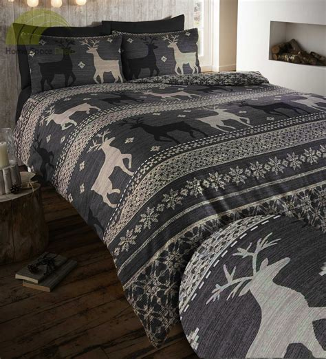Cotton Bedding Set 100 Brushed Cotton Flannelette Quilt Duvet Cover Bedding Bed Set Stag Winter Ebay