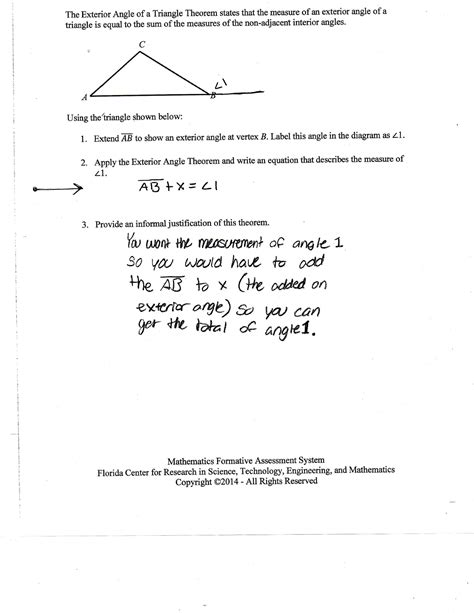 Worksheet Triangle Sum And Exterior Angle Theorem Answers by Exterior Angle Theorem Worksheet Lesupercoin Printables