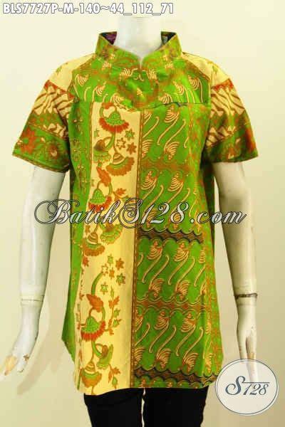desain baju batik hijau batik blus klasik warna hijau baju batik printing elegan