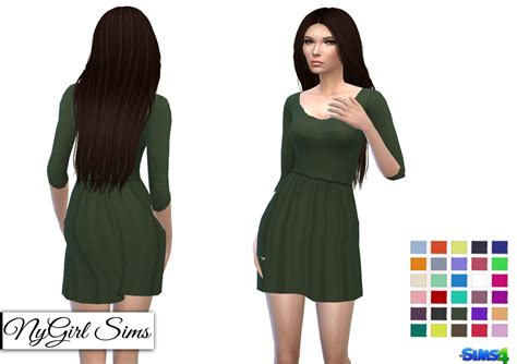 dresses sims 4 download nygirl sims 4 three quarter sleeve jesery dress