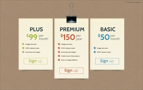 price template design pricing list design