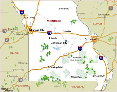 missouri cgrounds map missouri cing resources and information