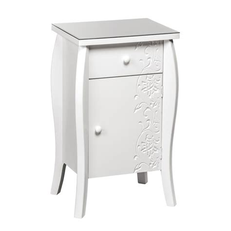 Small White Bedside Cabinet Flair Small Bedside Cabinet In White With Glass Top