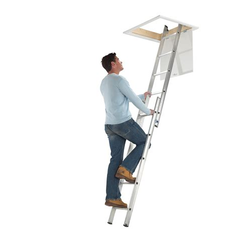 werner aluminium loft ladder 3 section werner abru 2 3 section aluminium loft ladders for