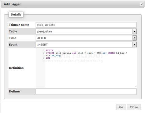 cara membuat database penjualan di xp cara membuat perhitungan otomatis menggunakan trigger mysql