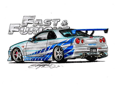 nissan skyline drawing fast and furious cars drawings skyline pixshark com