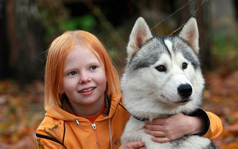 wallpaper girl dog red girl and dog 1920 x 1200 other photography