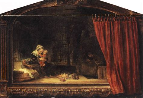 painting on curtains the holy family with a curtain by rembrandt harmenszoon