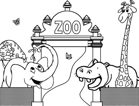 Drawing Zoo by Coloring The Zoo With An Hippopotamus An Elephant And A