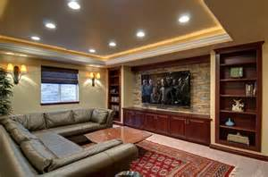 Decorating Ideas For Entertainment Center Basement Home Theater Tv Wall Traditional Basement