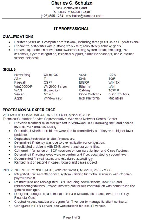 It Resume Template by Resume Sle For An It Professional Susan Ireland Resumes