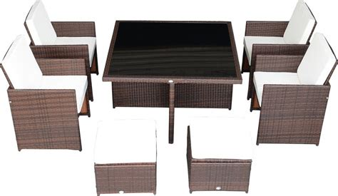 Patio Dining Table And Chairs Outsunny 9 Outdoor Dining Set W Stowaway Table And Chairs
